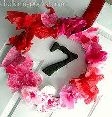 Valentines Day tissue paper Wreath