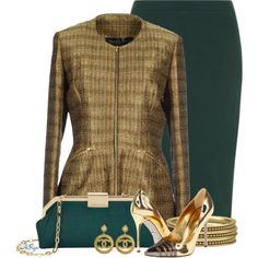 Classy in Green and Gold Contest 2, created by kginger on Polyvore