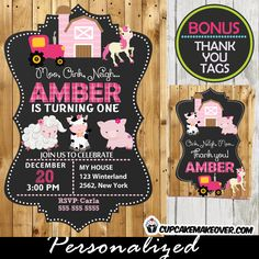 Fun girl farm birthday party invitation with matching thank you cards. This printable Barnyard themed birthday party invitation features a pink barn, a tractor and the sweetest farm animals against a chalkboard backdrop on printed barn wood. #cupcakemakeover