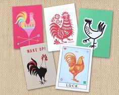 Greeting Card Set, Chicken Gift, Handmade Greeting Cards, Chicken Art, 5 Blank Greeting Cards by LuckyTheRooster on Etsy