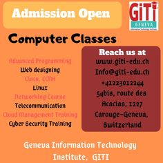 If you are seeking Computer Classes Near your location, then Geneva Information Technology Institute is one of the best institute in Geneva, Switzerland. Computer Science Degree, Computer Class, Pc Network, Security Training, Geneva Switzerland, Information Technology, Web Design, Design Web, It Training Courses