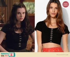 Bay's black cropped top on Switched at Birth.  Outfit Details: http://wornontv.net/36103/ #SwitchedatBirth