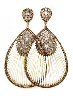 BURNT GOLD WHITE FABRIC TEARDROP LADIES FASHION EARRINGS - Fashion Earrings - Earrings - Jewellery