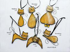 Chat ambre en vitrail capteur de lumière attrape-soleil