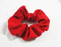 Scarlet-red plain cotton hair scrunchie  by TheScrunchiePuss