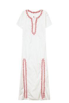 Majestic Maxi Kaftan Dress in White/Poppy + Hibiscus