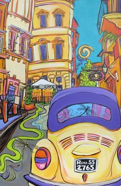 Dragonfly Visits Rome with a VW Bug  A 24x36 by StudioOnTheBlvd, $1699.00