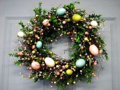 Door Wreath Boxwood  - Spring Wreath - 2015 easter Wreath - Pastel Spring EGG Mix Pip Berry Wreath  - 2015 easter Egg Wreaths - 2015 easter Home Decor