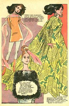 Today I went in search of mindless distractions from reality. Perhapsyou did the same. I went to my happy place and took a deep dive into the archives and photo pools of Flickr. There, I found these 1960s hippie-modfashion pages from various romance comic books of the 60s and 70s. Some of them hav