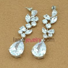 Nice white color zirconia pendant drop earrings