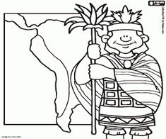 Free An inca noble in front of a Tawantinsuyu map, the Inca Empire in its maximum expansion. The incas expanded their empire over territories of Peru, Argentina, Bolivia, Chile, Colombia and Ecuador coloring and printable page.
