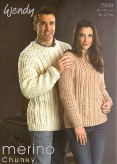 KNITTING PATTERN WENDY 5619 HIS AND HER SWEATER £2.60