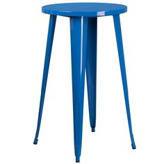 iHome Collins Round 24'' Blue Metal Bar Height Table for Indoor/Outdoor/Patio/Bar/Restaurant, Patio Furniture