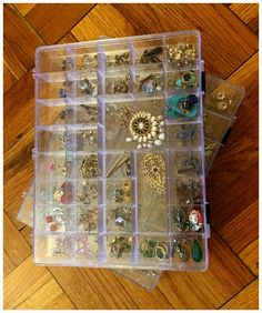 How to pack your jewelry for a move - I like to use plastic bead storage boxes to keep earrings safe and keep earring pairs together.