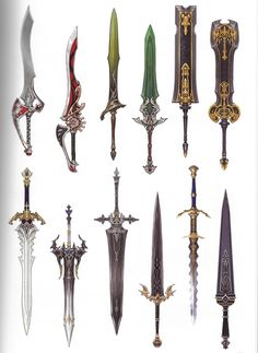 I really want to develop some cool swords so I'm posting on them a lot. If you are too, I bet you'll do AMAZING Anime Weapons, Sci Fi Weapons, Weapon Concept Art, Fantasy Sword, Fantasy Weapons, Fantasy Art, Sword Drawing, Sword Art, Swords And Daggers