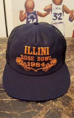 0265aa65e 2 Vintage 80's Rose Bowl Illinois Fighting Illini Mens Mesh Trucker hat lot  1984 | eBay