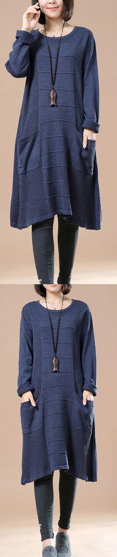 Blue loose women sweaters plus size knit dress