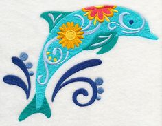 Embroidered flower power dolphin quilt block,embroidery machine,calico