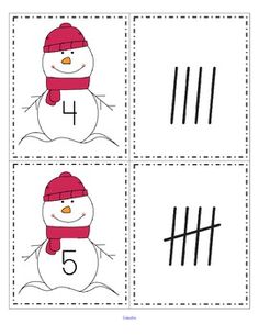 FREE This is a set of snowmen cards, numbered from 0-20, and a set of tally marks, from 0-20. Use to match the sets; as flash cards; for number or tally marks sequencing.