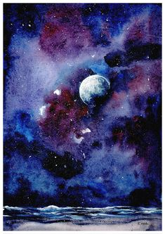 Moon by KasaLaurend on DeviantArt Moon by KasaLaurend on DeviantArt Simply Maren simplymaren Ocean Lover Moon is a watercolour painting series where I picture our nbsp hellip canvas sky Watercolor Night Sky, Night Sky Painting, Moonlight Painting, Watercolor Galaxy, Moon Painting, Watercolour Painting, Painting Canvas, Night Sky Drawing, Tattoo Watercolor