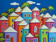 Colorful Houses Folk Art Glicee Print from Original Painting Tropical Church Cat Caribbean - Little Village - Korpita ebsq
