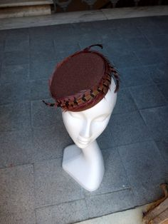 Free Shipping Wine Red Brown Pillbox Hat Wool Hat Feathers Evening Hat Church Hat Winter Autumn Hat Headpiece with Feathers Gift for Her JCN by JCNfascinators on Etsy
