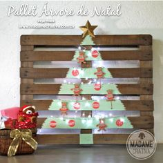 Unusual Christmas tree made out of pallets.
