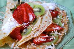 Coconut Crepes with Kiwi & Strawberries