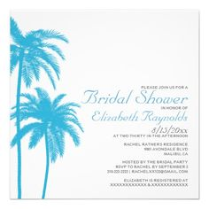 Palm Tree Beach Bridal Shower Invitations
