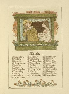 March - Kate Greenaway's Almanack for 1888