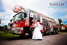 Bride and Groom with a Firetruck │ Fireman Groom│ Naples Wedding Photographer Windstar Country Club │ Jamie Lee Photography