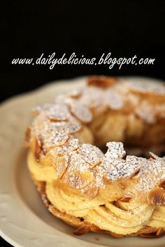 dailydelicious: Paris Brest: Deliciously rich choux pastry – Famous Last Words Profiteroles, Eclairs, French Desserts, Just Desserts, Delicious Desserts, Dessert Recipes, Paris Brest, Brest France, Croissants