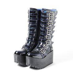 Known for its edgy, gothic designs, YOSUKE U.S.A is a world famous Japanese shoe brand. These impressive long boots are another of their cool, rock-inspired designs!   Available in blue/black, wine red/black and all black, the knee-length boots each feature a series of belts travelling all the way up from the ankle to the knee and have a thick sole too. Each of the boots also has a cool studded ...