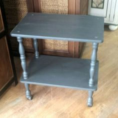 Reconditioned/Certified - Painted storage cart in slate gray. Perfect as a bar cart, in your kitchen for microwave,  coffee station,  tea cart, small media stand,  and more.  Very good condition. Sealed for durability  measures 24 inches wide by 16 inches deep by 25.25 inches high.