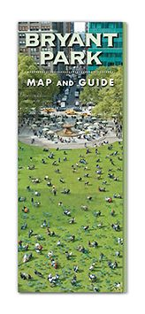 Russell Design   Bryant Park Map and Guide Cover, Russell Design.  Bryant Park Corporation Our first step in designing this map and guidebook for Bryant Park was to commision a fanciful map that details every tree, light post, carousel and pigeon – a work of art worthy of the park. Classic typography and beautiful photos fill a 28-page guide to the park's history, activities and amenities.