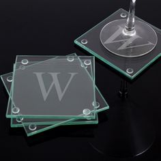 Set of 4 glass drink coasters can be customized with single uppercase letter. Personalized glass coasters are great to give as housewarming or wedding gift. The Coasters, Glass Coasters, Drink Coasters, Personalized Coasters, Personalized Gifts, Monogram Coasters, Customized Gifts, Office Items, Custom Glass