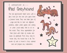 I adopted a... Red Greyhound  6x8 Print by Eppy on Etsy, £5.00