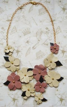 Things We Make: Q with Sare of Miss Fluff Jewelry - for leather scraps Leather Necklace, Diy Necklace, Leather Jewelry, Flower Necklace, Felt Necklace, Necklaces, Jewelry Crafts, Handmade Jewelry, Craft Jewellery