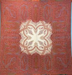 Paisley Shawl - Jacquard-Woven Wool with White Center and Boteh Designs and  Harlequin   282913d6a01