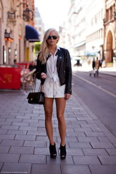 Spellbound Style Lace Shorts with Blazer Look Stockholm Street Style