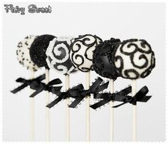 Cake Pops  Black and White Cake Pops  by Fairy by FairySweetShop