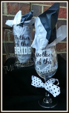 Mother of the Bride 20 oz Wine Glass and Father of the Bride 26 oz. Beer Mug Set -Bridal Party -Parents of the Bride Wedding Set