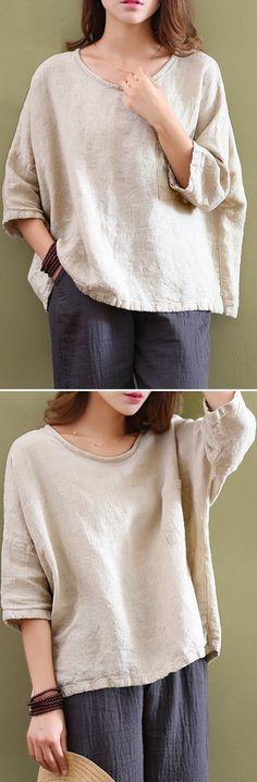 US$16.89 Casual Women Mori Pocket O-Neck 3/4 Sleeve Loose Blouse