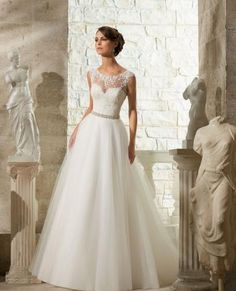5315 Venice lace appliqués on soft tulle ball gown with removable satin belt