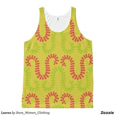 Leaves All-Over Print Tank Top #Leaves All-Over #Print #Tank #Top
