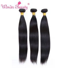 Wonder Beauty Brazilian Virgin Straight 3Pcs Lot Brazilian Straight Hair Bundle Deals 7A Brazilian Straight Human Hair Weaves - mixre.com/... #HairWeaving