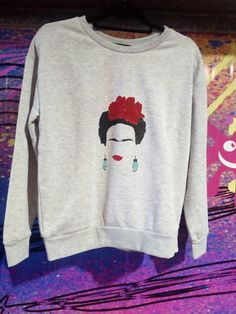 Screen printed illustration if hair lipstick and earrings, inspired by Mexican artists Mexican Artists, Grey Sweatshirt, Den, Screen Printing, Jumper, My Etsy Shop, Sweatshirts, Check, Prints