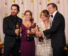 * Christian Bale, Natalie Portman, Melissa Leo and Colin Firth * Oscar, Academy Award Winners, Oscar Winners, Academy Awards, Hooray For Hollywood, Hollywood Stars, Hollywood Icons, Best Actress, Best Actor, Oscars