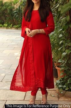 Georgette+Lace+Work+Red+Plain+Unstitched+Bollywood+Designer+Suit+-+ASRS at Rs 1399