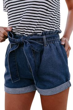 Frauen Blue Belted Pocket Hohe Taille Casual Denim Shorts - S - Moda! Denim Skirt Outfits, Denim Outfit, Denim Shorts, Outfits With Jean Skirt, Blue Shorts Outfit, Overall Shorts Outfit, Denim Skirt Outfit Summer, High Waisted Shorts Outfit, Long Jean Shorts